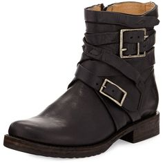 Frye Veronica Strappy Short Engineer Boot ($400) ❤ liked on Polyvore featuring shoes, boots, ankle booties, ankle boots, black, black motorcycle boots, low heel ankle boots, leather ankle boots and black ankle boots