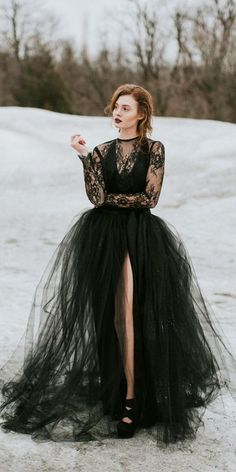 33 Beautiful Black Wedding Dresses That Will Strike Your Fancy ★black wedding dresses ball gown with long sleeves lace sweet caroline #bridalgown #weddingdress Fancy Wedding Dresses, Black Wedding Dresses, Princess Wedding Dresses, Elegant Wedding Dress, Wedding Dress Styles, Formal Dresses, Tulle Ball Gown, Ball Dresses, Ball Gowns