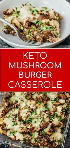 Looking for casserole recipes? This is one of my favorites -- a very savory mushroom cheeseburger casserole! It is made with ground beef and cheese, and great for healthy diets like keto and low carb. Reminds me of a mushroom swiss burger.