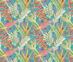 Tropical Paradise Scatter with Blue Mosaic Background fabric by bloomingwyldeiris on Spoonflower - custom fabric
