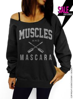 "Use coupon code ""pinterest"" Muscles and Mascara - Black with Silver Slouchy Oversized Sweatshirt by DentzDesign"