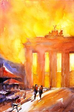Watercolor painting of Brandenburg Gate by RFoxWatercolors on Etsy, $39.99