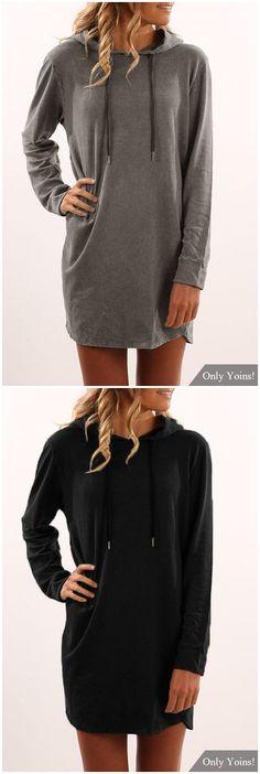 Dark Grey Hooded Design Long Sleeves Mini Hoodie Dress US$10.99