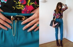 E Bay Ring, Karl Lagerfeld Diet Coke, Nails Rock Nail Wraps, Primark Belt, H! Henry Holland Floral Shirt, Primark Teal Trousers, Primark Boots, Chanel Quilted Bag