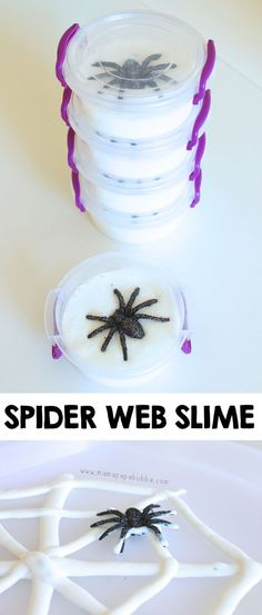 Spider Web Slime Halloween party favors or gift idea. Halloween Party Favors, Halloween Birthday, Cute Halloween, Holidays Halloween, Halloween Games, Halloween Decorations, Halloween Science, Autumn Activities For Kids, Halloween Activities For Kids
