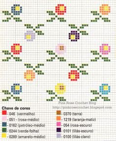 Crochet Patterns Modern World of Ponto Cruz & Cia Tiny Cross Stitch, Cross Stitch Borders, Simple Cross Stitch, Modern Cross Stitch Patterns, Cross Stitch Flowers, Cross Stitch Designs, Cross Stitching, Cross Stitch Embroidery, Embroidery Patterns