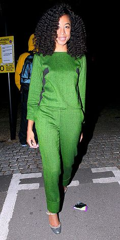 Corinne Bailey Rae- love the hair/emerald pantsuit