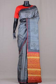 Stone Grey Tussar Silk Printed Saree-VE3508