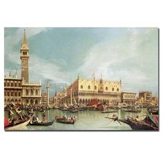 "Trademark Art 'The Molo, Venice' by Canaletto Painting Print on Canvas Size: 18"" H x 24"" W x 2"" D"