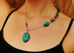 Turquoise and Wood uNBalanced Necklace