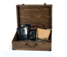 Groomsman Gift Rustic Felt Lined Cigar Box Flask by TheSmilinBride
