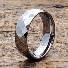 Faceted Silver Ring Personalized Gift Gift for Him Jewelry Silver Wedding Bands, Tungsten Wedding Bands, Jewelry Gifts, Unique Jewelry, Engagement Bands, Personalized Rings, Engraved Rings, Rings For Men, Silver Rings