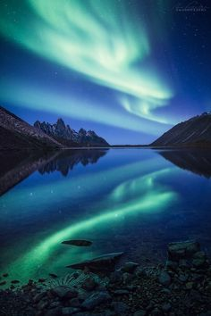 This was taken on the quiet shores of Talus Lake during an explosive Aurora show…