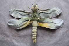 green dragonfly textil art insect Soft von mysouldesign auf Etsy