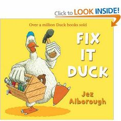 Duck has a leak in his roof and in trying to fix it, he tries fixing his friends problems too with disastrous results.  Themes: Rhyming; Problem-solving; Friendship; Being neighbourly; Prediction; Making mistakes.