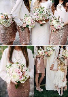 3 schicke und bezaubernde Hochzeitskleider mit pink Pailletten für Brautjungfer 2014-2015