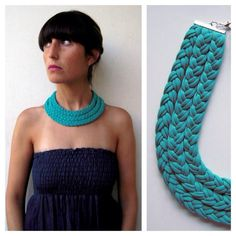 Beautiful teal triple braided collar, soft, light colorful, daring and with a tribal feel. Meet Market, Soft Light, Spectrum, Crochet Necklace, Braids, Teal, Colorful, Beautiful, Fashion