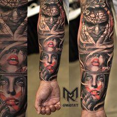 Instagram media iskonno_ru - regram @madtatt My tattoo of the day submission @biggesttattooshow .  Hear No Evil, See No Evil, Speak No Evil.  @mglrodriguez