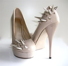 #Asymmetrical #Spiked #Patent Leather #Pumps #Nude by VileBroccoliFur #shoe