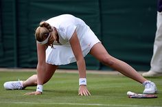LONDON - The Championships Wimbledon ... DANGEROUS, WET GRASS!! Petra Kvitova slips on #2 Court Again! The 2011 Champion fell several times during her match which was suspended by rain & then darkness until the next day. 6/28/13