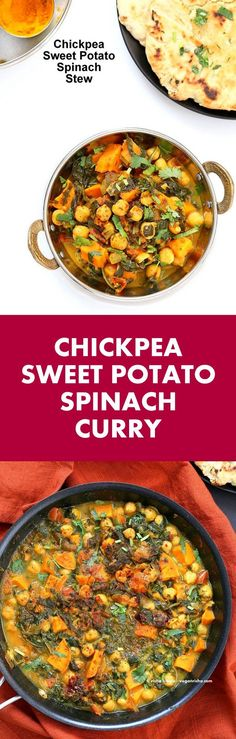 Easy One Pot Chickpea Sweet potato Spinach Curry with Indian Spices. Use spices of choice, pumpkin or other squash and other beans.