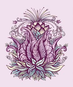 Lotus Flower Illustration by Rochelle Fox, via Behance