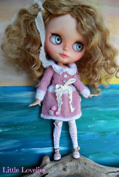 """BLYTHE DOLL Dress - OOAK - """"Coconut Ice"""" - Pale Pink & WHite mohair dress by CooeeChris on Etsy"""