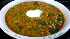 Spicy green peas masala north indian restaurant style recipe is one of the best curry for chapathi, roti and poori. Its also called as Green Peas Hara Gravy or Hariyali Matar masala which is a gravy recipe made using green peas (hara vatana in marathi). Gobi Recipes, Pea Recipes, Curry Recipes, Vegetarian Recipes, Veg Curry, Masala Curry, Vegetable Curry, Peas Recipe Indian, Peas Masala Recipe