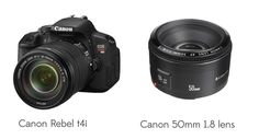 """My top recommendation for an INTRO DSLR is the Canon Rebel,TIP: If you're looking to add a fantastic """"portraiture lens"""" to your line up, the 50mm 1.8 is my top beginner pick"""