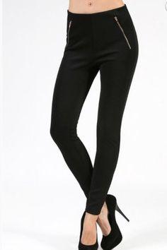 Zippered Scuba Skinny Pant