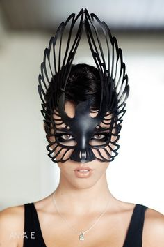 Raven leather mask in black. $59.00, via Etsy.