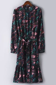 Floral Print Chiffon Waisted Long Sleeves Dress