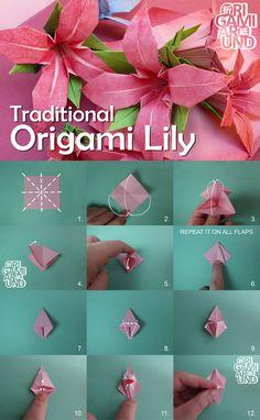 Flower Oragami, Paper Origami Flowers, Origami Lily, Origami Flowers Tutorial, Paper Crafts Origami, Origami With Copy Paper, Origami Ornaments, Rainbow Loom Charms, Rose Tutorial