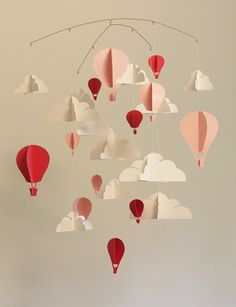 CLASSIQUE rose grand Hot Air Balloon papier bébé Mobile