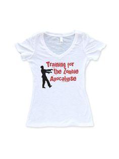 Women's Running V Neck : Training for the Zombie Apocalypse on Etsy, $25.00