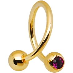 16 Gauge Gold Plated Purple Gem Spiral Twister Ring-4mm | Body Candy Body Jewelry