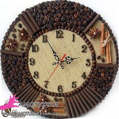 Decorating with coffee beans. 22 ideas - Just . - Decorating with coffee beans. 22 ideas – by yourself - Diy Arts And Crafts, Creative Crafts, Diy Crafts, Coffee Bean Art, Coffee Beans, Bone Crafts, Coffee Crafts, Wood Clocks, Antique Clocks