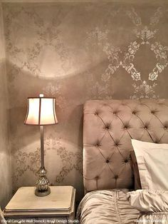 Our Floral Cascade Damask Wall Stencil is a vintage trellis stencil that is designed to repeat easily to create a gorgeous wallpaper pattern. This damask wall s Glam Bedroom, Shabby Chic Bedrooms, Bedroom Vintage, Bedroom Colors, Bedroom Decor, Wall Decor, Bedroom Ideas, Bedroom Loft, Bed Ideas
