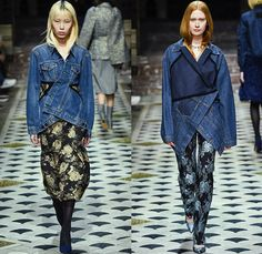 Lutz Huelle 2018-2019 Fall Autumn Winter Womens Runway Catwalk Looks - Mode à Paris Fashion Week France - Denim Jeans Wrap Nylon Outerwear Coat Parka Bomber Jacket Reverse Front Blazer Half Split Hybrid Combo Panel Brocade Quilted Waffle Puffer Knit Plaid Check Plush Fur Shirtdress Dress Leg O'Mutton Sleeves Oversleeve Frankenstein Shoulders Pinstripe Tweed Accordion Pleats Balloon Hem Tights Stockings Boots Heels Opera Gloves