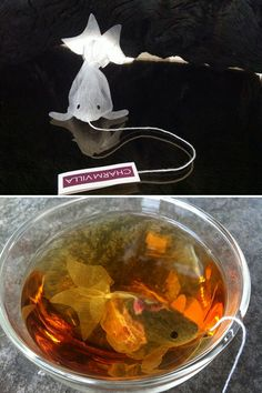 Tea Bags. Once the hot water has been added and they're submerged and colored by the tea within, they really do look like goldfish!