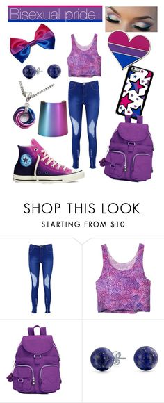 """""""Bisexual pride"""" by sofkulin ❤ liked on Polyvore featuring Boohoo, Converse, Kipling, Bling Jewelry and Humör"""