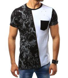 Pánske tričko s potlačou čierno-biele