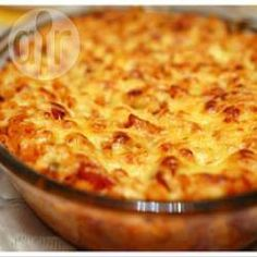 Photo recette : Gratin de macaronis au cheddar fondu