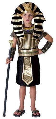 The Child Pharaoh Egyptian Costume includes an impressive black and gold coloured tunic with an attached belt and a pair of black sequined arm cuffs. Boy Costumes, Adult Costumes, Costume Ideas, Ancient Egyptian Costume, Egyptian Party, Egyptian Mummies, Pharoah Costume, Biblical Costumes, Childrens Fancy Dress