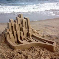 Artist Calvin Seibert spent part of a summer building these modern sea castles. #abstract #seacastle #beach #beachart #art #design #castle #instagood #instaart