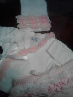 Rosette Side Snap Hospital Tee and Matching Hat Set/Diaper Cover/Frill Socks