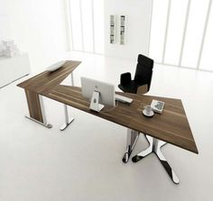 Modern Home Office Desk Design White Office Interior Design... Excellent desk design with a modern look and a intelligent fit.