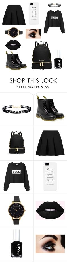 """Black look"" by coca91 ❤ liked on Polyvore featuring LULUS, Dr. Martens, Michael Kors, T By Alexander Wang, Olivia Burton and Essie"