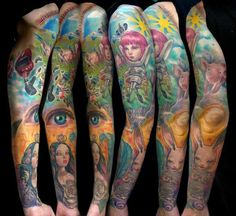 freaky wonderland - 80+ Awesome Examples of Full Sleeve Tattoo Ideas  <3 <3