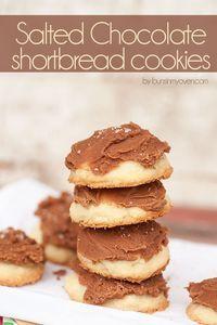 Salted Chocolate Shortbread Cookies #recipe
